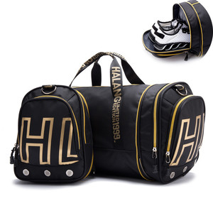 Multi-functional Double Use Foldable Travel Sport Bag with Shoe Compartment Folding Breathable Fitness Tote Bag