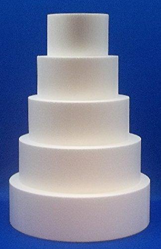 "5 Piece Cake Dummy Set, Round 4"" Thick by 6"", 8"", 10"", 12"", 14"""