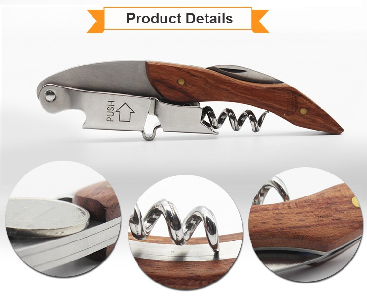 Multifunction 2Cr13 And Rosewood Material Wine Opener Corkscrew