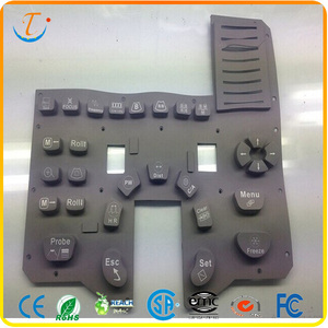 Black silicone rubber buttons keypad with serigraphy key