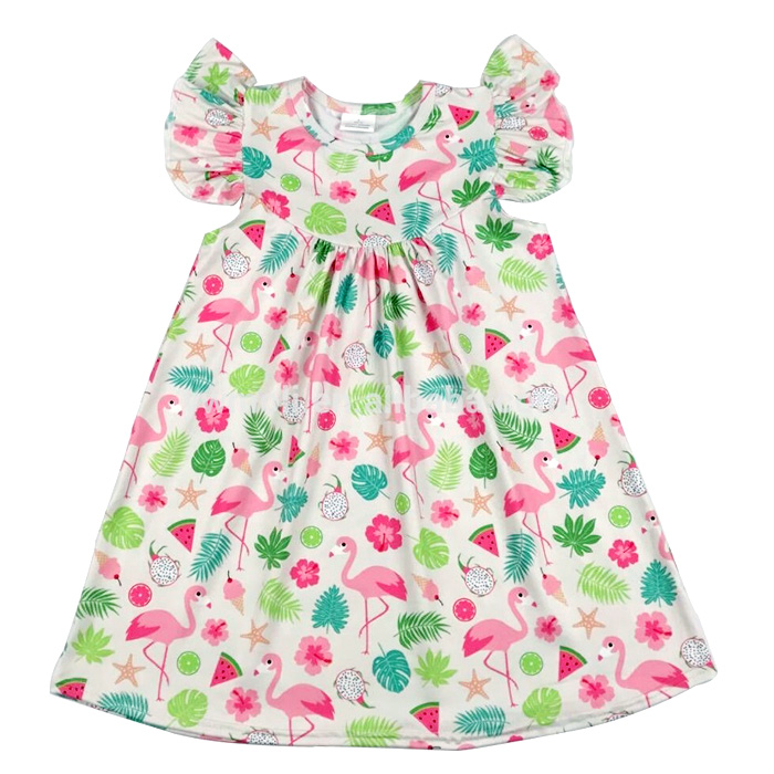 <strong>Kids</strong> Dress high Quality Flamingo print Dress <strong>Girls</strong> <strong>fashion</strong> pompom summer dress