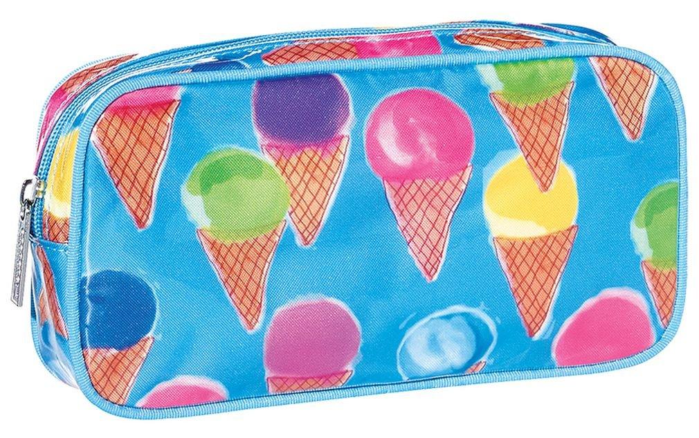 "iscream 'Watercolor Cones' 8.5"" x 4.5"" Bold Print Zippered Cosmetic Bag"