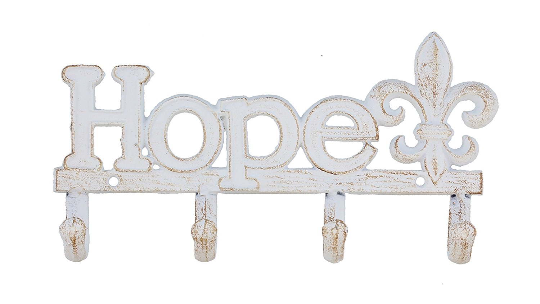 "Decorative 10"" Cast Iron Hope Fleur De Lis 4 Peg Wall Hook"