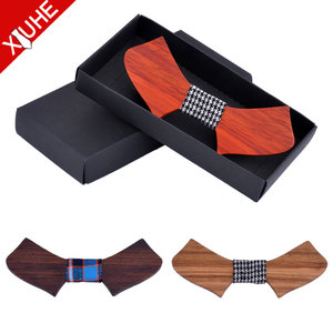 Custom Fashion Adjustable Casual Funny Decoration Bowtie Men Wooden Bow Tie Sets