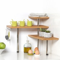 Bamboo and Stainless Steel Corner Shelf Unit - Kitchen - Bathroom - Desktop - Perfect Space Saving Idea