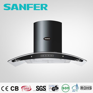 Super motor with big fan kitchen appliances cooker hood /smoke sensor range hood exhauster