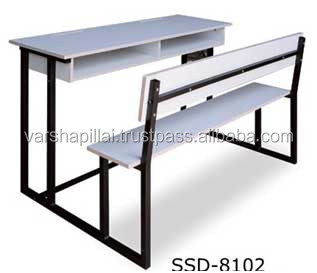 New Design Modern School Furniture / Double Desk And Bench