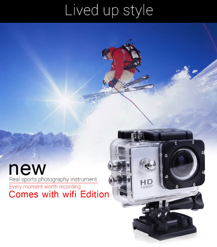 Waterproof Sports Camera FULL HD 1080P H.264