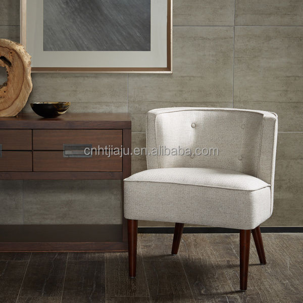 Living Room Furniture Off White Accent Fabric Chair With Wood Legs