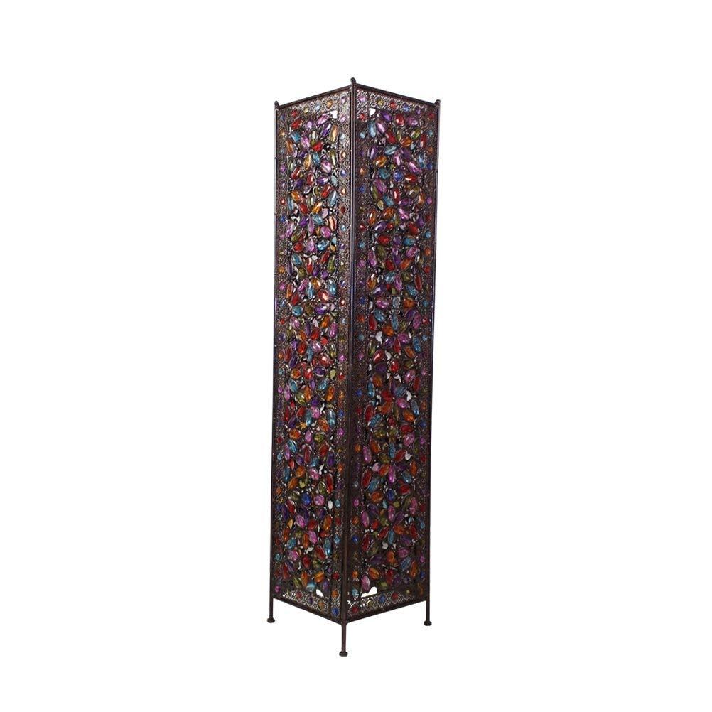 WAN SAN QIAN- Large Iron Moroccan Floor Lamp Stylish Cutwork Jeweled Floor Light with Colourful Organic Glass Beads E142,120x27cm Floor Lamp