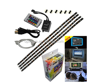 4 Pre-Cut Multicolor LED Light Strip Kit 1.3Ft RGB Accent LED Tape Light + Remote Control + USB port + Wire Mounting Clips