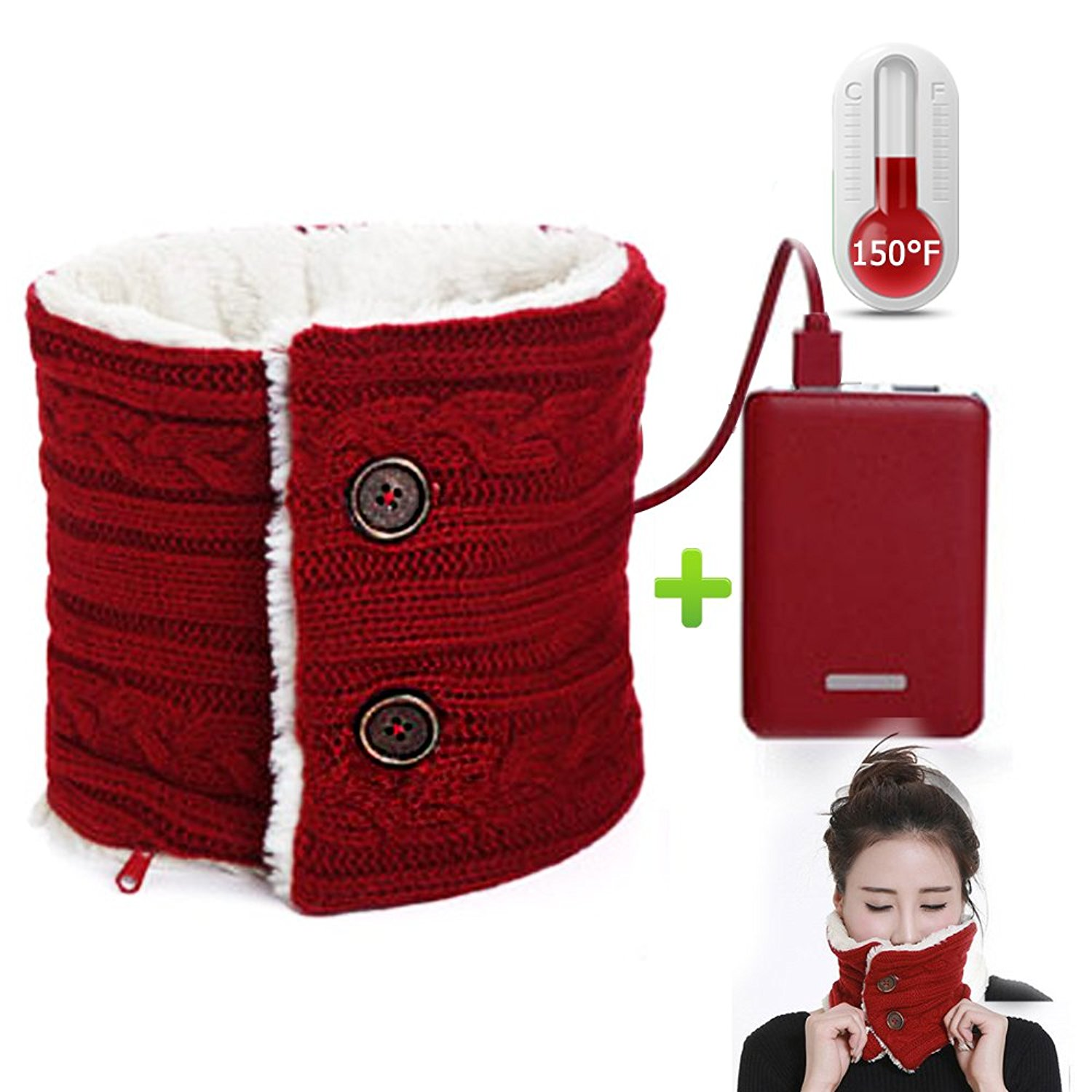 148598e1169e2 Get Quotations · Heated Neck Scarf, Electric Heating Winter Scarf With 5000  MA Power Bank