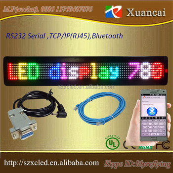 computer RS232 serial RJ45 or TCP/IP programmable RGB led single line advertising display board