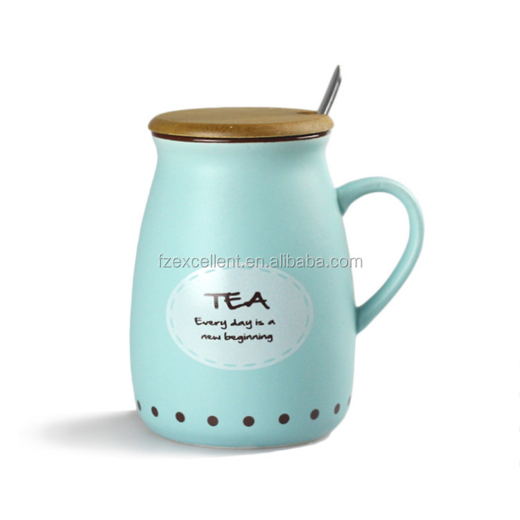 Cute Fashion Ceramic Water Tea Milk Custom Design Bamboo Reusable Coffee Mugs Lid Spoon