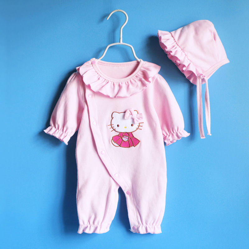 Summer Princess Style Baby Girl Clothing Set Newborn Cotton Baby Girl Rompers Hats Body Bebes Roupas Infantil Baby Clothing Set