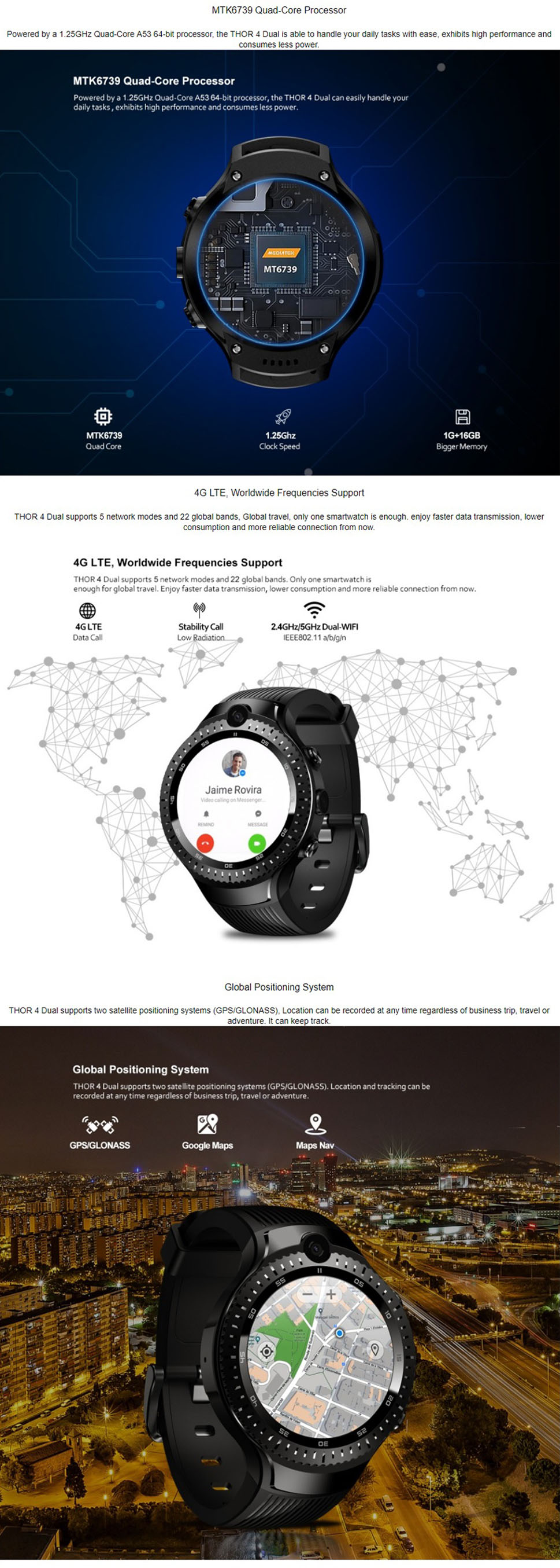 4G Smart Watch 5 0MP+5 0MP Dual Camera Android 1 4quot AOMLED