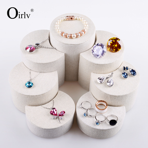 Oirlv Custom Creative Design Ring Earring Bracelet Display Stands for Trade Show Crescent Shape Set of 7 Wooden Jewelry Stand
