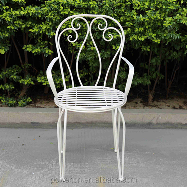 Metal outdoor garden dinning chair with arm