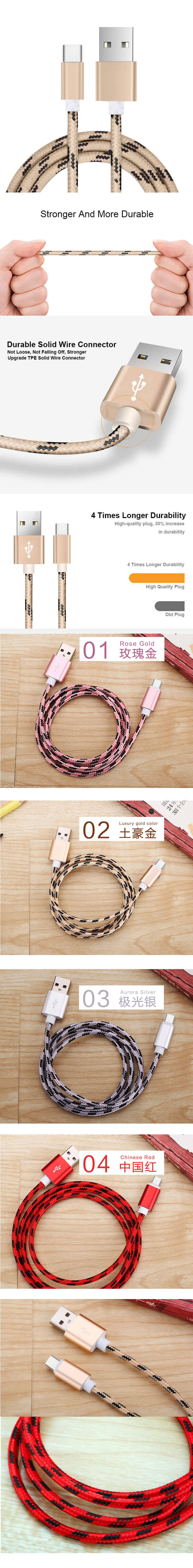 High Quality Type c Charger Charging Data Cable Type-C For Samsung For Huawei