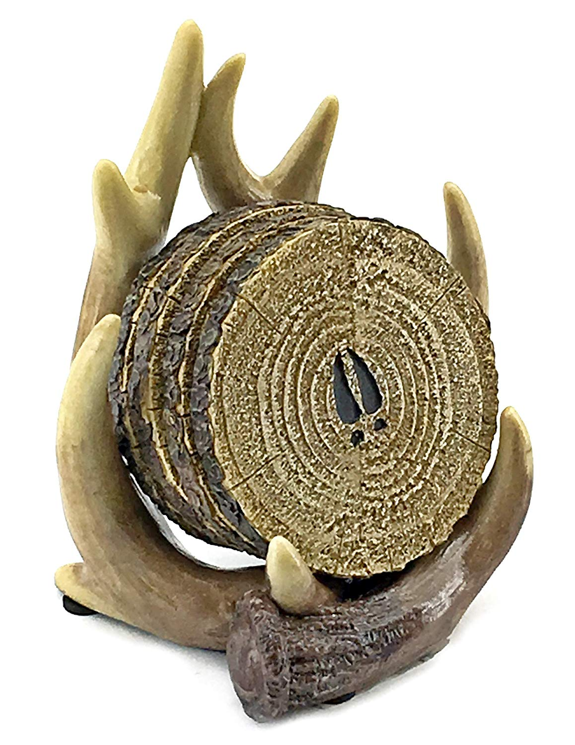 Bellaa 23295 Coasters Deer Antler Holder 4+1 Set Outdoors Rustic Cabin Theme Decor
