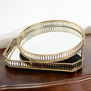 European light luxury home soft glass jewelry coffee table storage ornaments gold metal rectangular round mirror tray