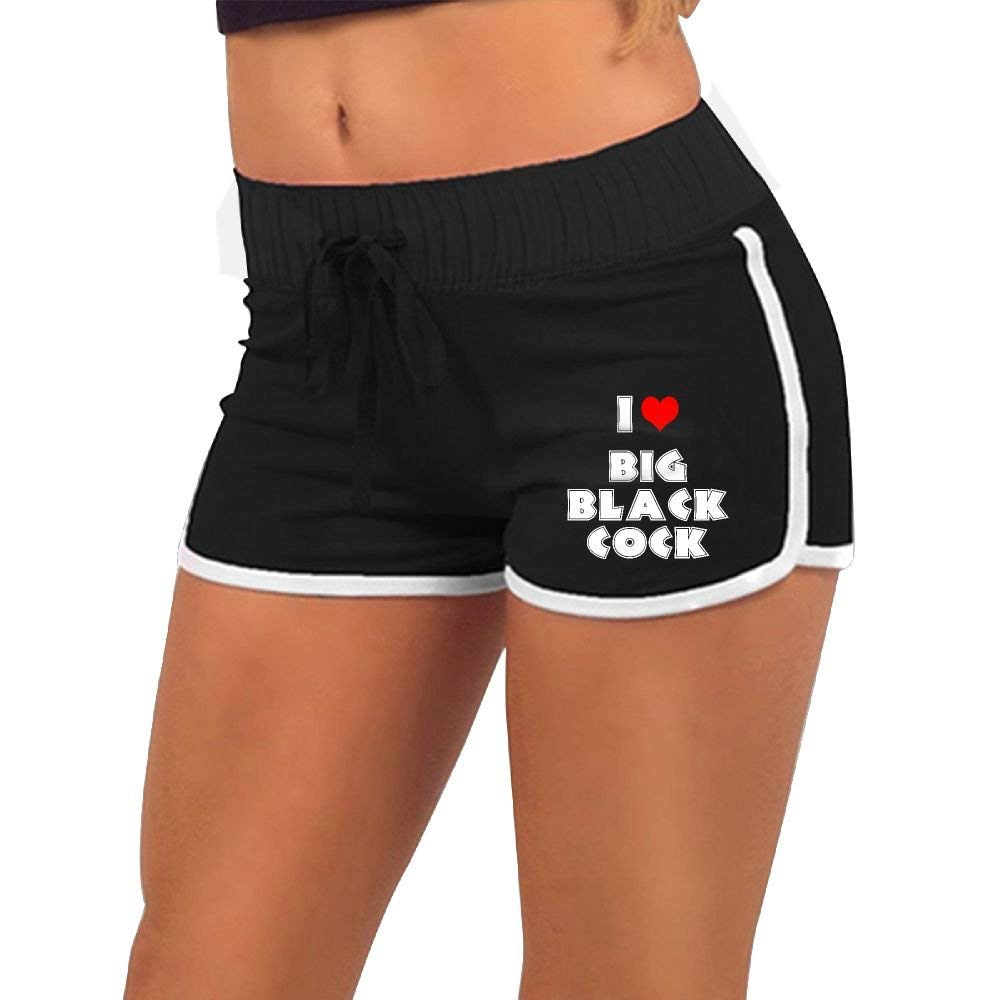 KENYYIOP I Love Big Black Cock Womens Yoga Shorts Workout Shorts Summer Pants Running Shorts Drawstring Waist Shorts