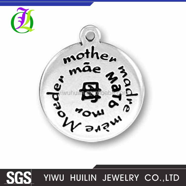 CN185098 Yiwu Huilin Jewelry Unique style Multi-language mother's different wording expresses the love of the mom charms