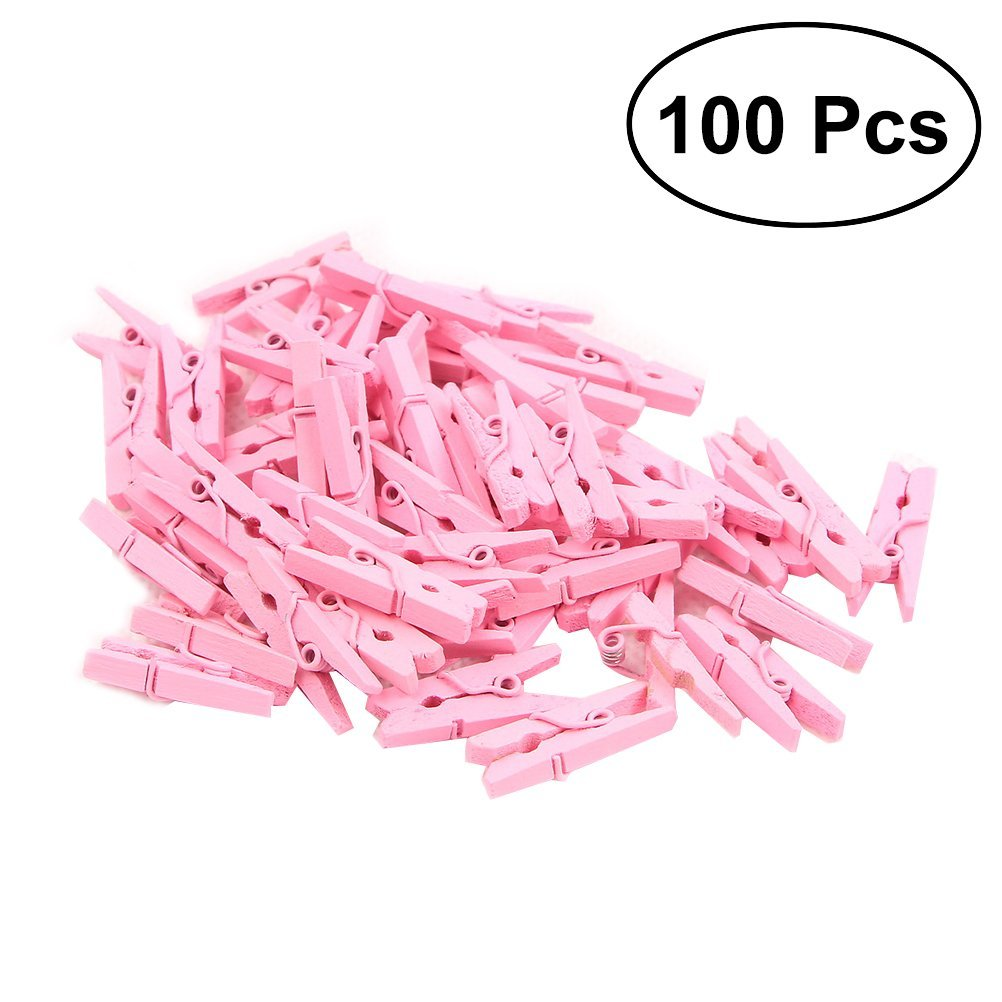 100 Pcs Wood Clothespins Wooden Laundry Clothes Pins Large Spring Regular Size