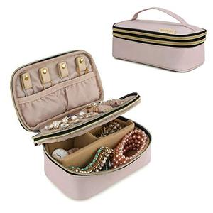 Small Travel Jewellery Organiser Box Double-Layer Jewelry Bag for Rings, Bracelets, Earrings, Necklaces