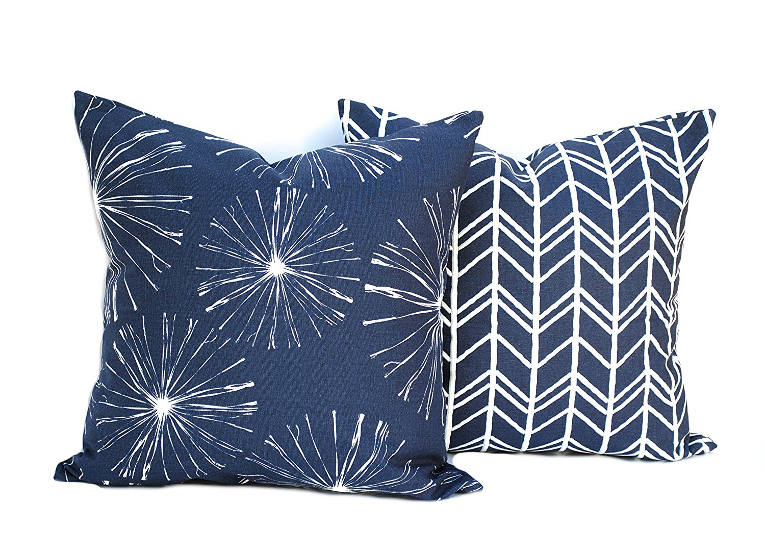 Two navy pillow covers, One Floral Pillow and One Geometric Pillow, 16x16 inch, Home decor, decorative pillow, throw pillow, Navy pillow, Blue Pillow, Striped Throw Pillow