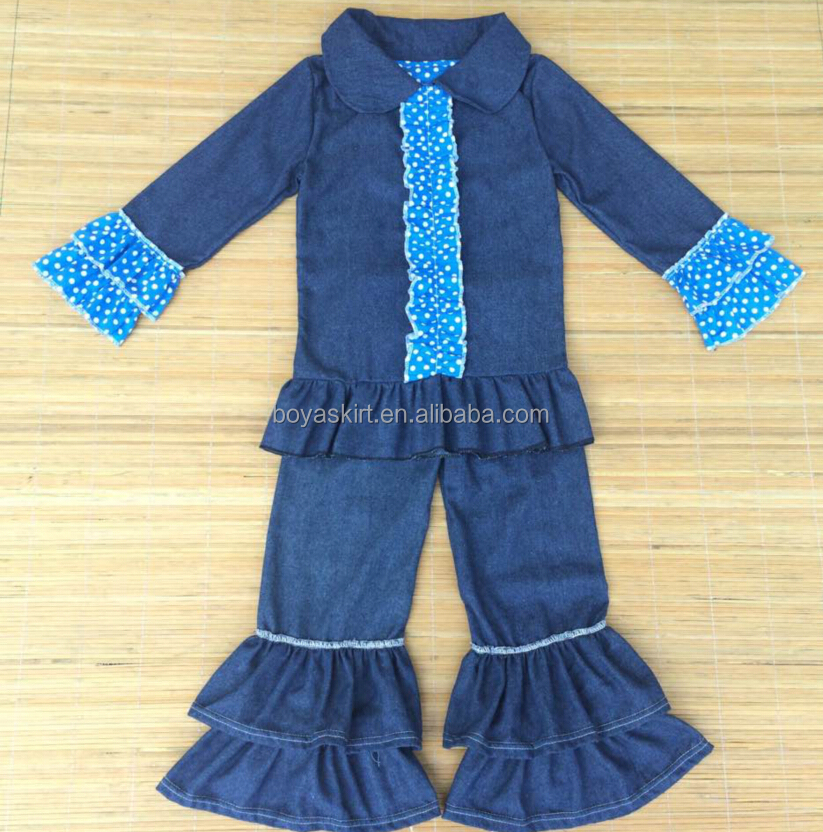 fashional and welcomed denim suit unisex,right season autumn/fall outfits ,remark clothing in ruffle tops and pants sets