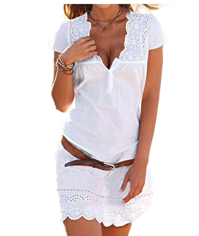 M&S&W Women Summer Lace Short Sleeve Beach Dress Sexy Deep V Neck Dress