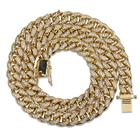 hiphop jewelry iced out 14k gold plated cz crystal 10mm cuban link chain for men