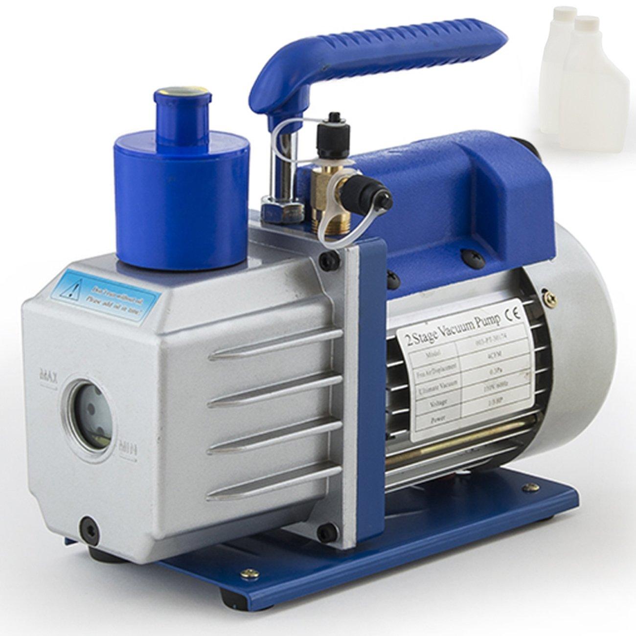 ARKSEN Electric 4CFM 2-Stage Pump Rotary Vane Deep Air Conditioner Vacuum HVAC 1/3HP w/ (2) Free Oil Bottle