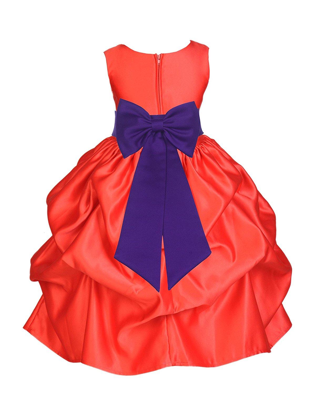 2187c85f435 Get Quotations · ekidsbridal Red Satin Bubble Pick-up Toddler Flower Girl  Dress Graduation Dress 208T