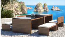 Garden furniture All weather Pe rattan wicker dining table and chair modern dining table set