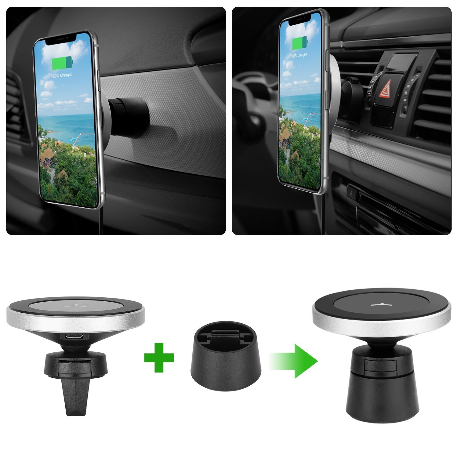 OEM / ODM 10W Fast Wireless Car Charger W5 Magnetic Car Wireless Charger Mount Wireless Charging for Any QI Enabled Devices