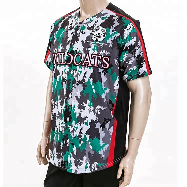 Ontwerp Custom Sublimatie Camo Honkbal Jerseys