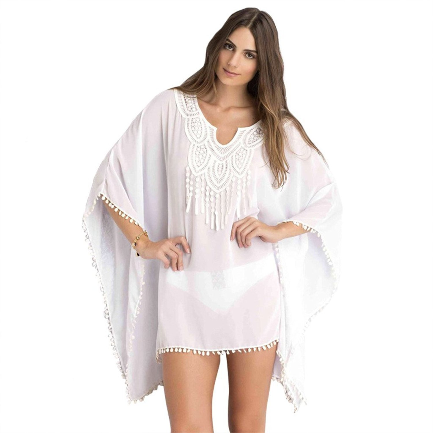 ed45a8a4de Get Quotations · Mose Fashion Crochet Lace Neck Trim Sheer Chiffon Kaftan /  Swimsuit Cover up-White Color