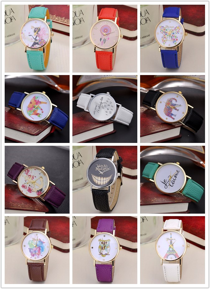 Colorful Strap Print your Design/Pattern Cheap Women Watches Customized Order