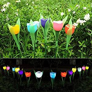 (Random Color) Garden Solar Power Colorful Tulip LED Light Outdoor Lawn Courtyard Landscape Lamp / . . Garden Landscape Solar Power Colorful Tulip LED Light . . Solar tulip light charges up