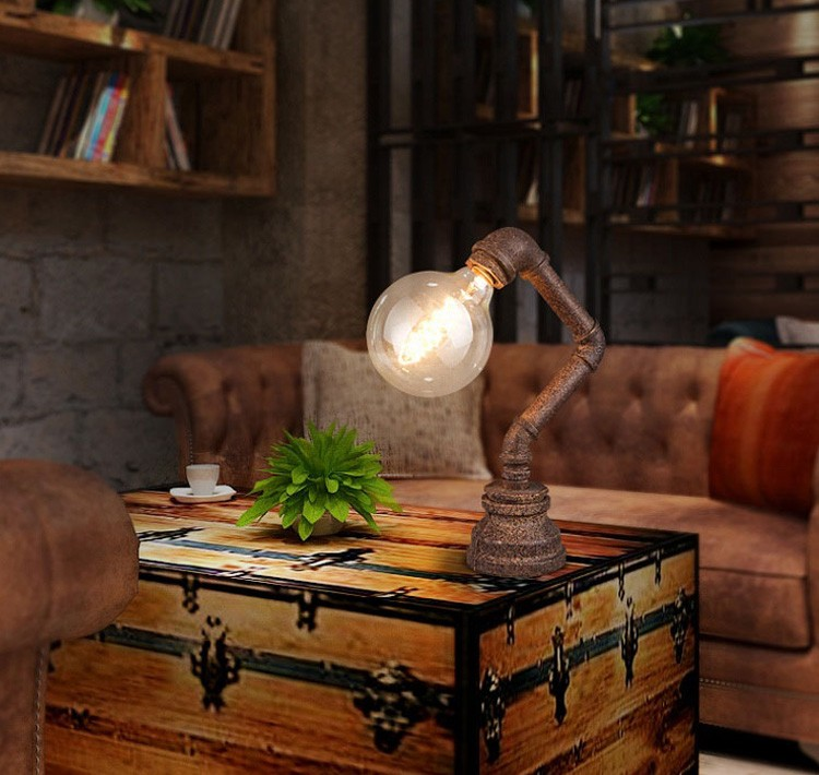 2016 Antique Pipe Table Lamp With Edison Bulb For Traditional ...