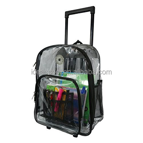 Rolling Clear Backpack Wheeled Transparent School Bag Student Bookbag Clear PVC school backpack bag