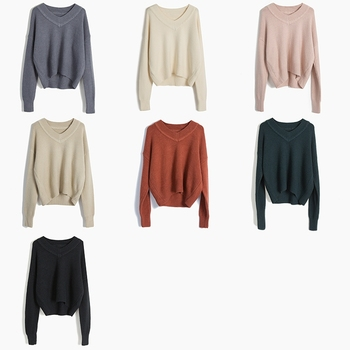 8fd9d3b33683e Computer Knitted Oversized Sweaters Manufacturer Girls Knitted Autumn Loose  Sexy V Neck Long Sleeve Sweaters