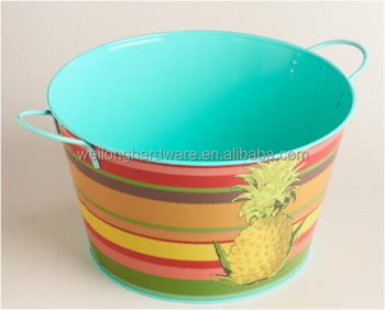Large Retro Oval Metal Beverage Party Tub Ice Bucket Wine Cooler