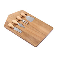 New design hot selling acacia wood cutting chopping board with cheese knife set