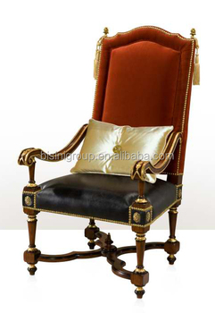 Royal Imperial English Armchair Luxury High Back King Chair Made Of
