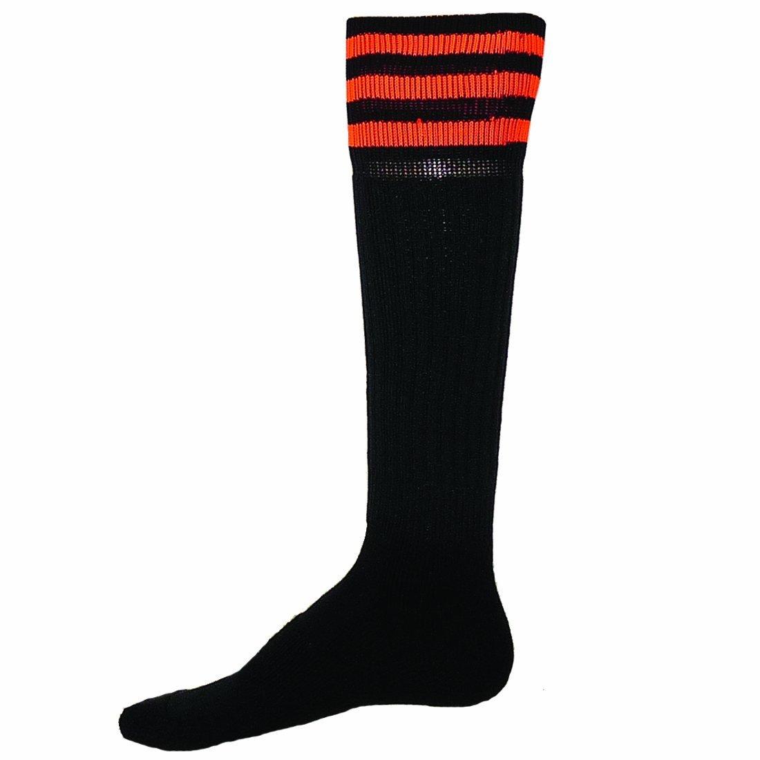 Red Lion Mach III Athletic Sport Wear High Knee Socks ( Black / Neon Orange - Medium )