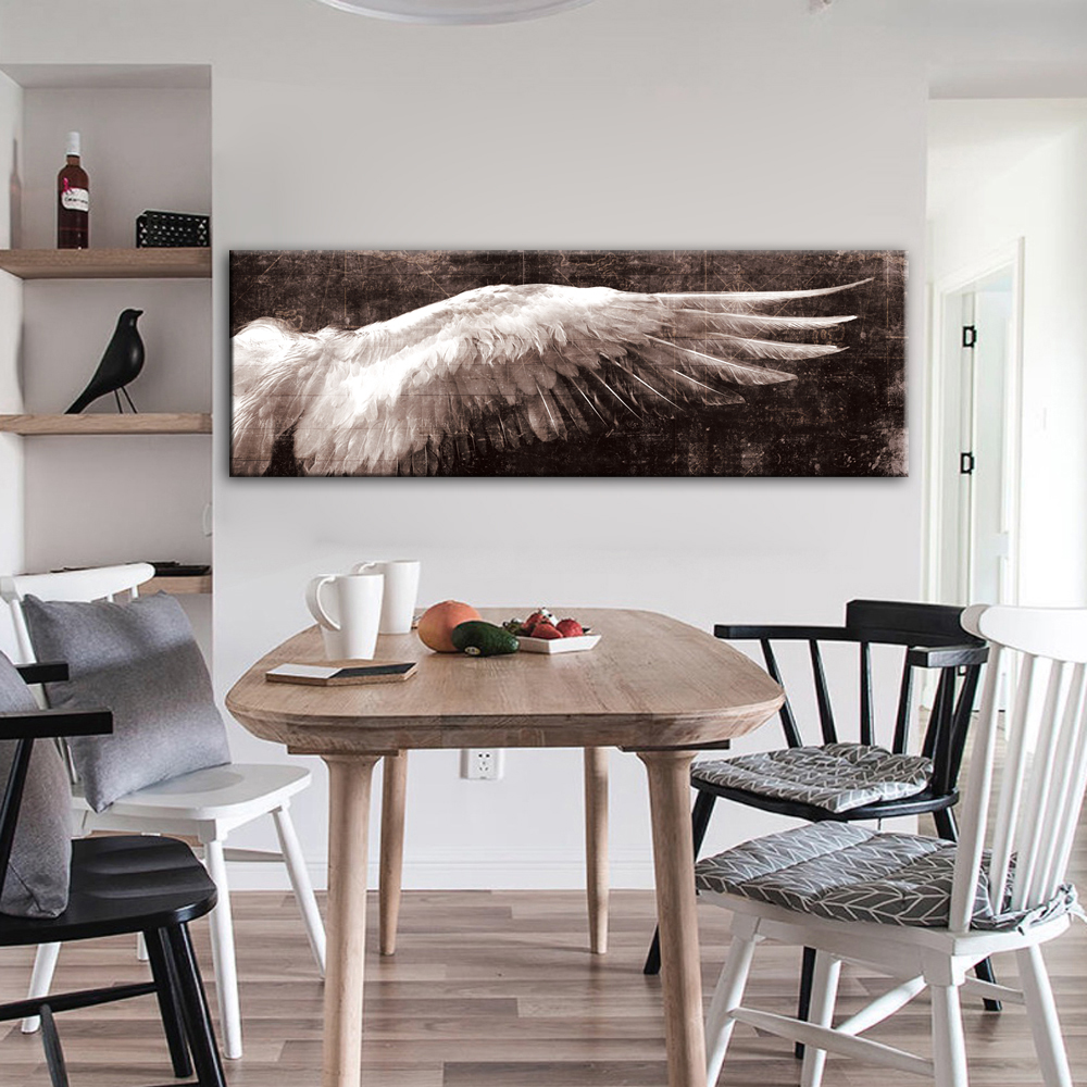 Black And White  Wings Pop Art Wall Picture  Home Decoration Feather Wall Art Painting