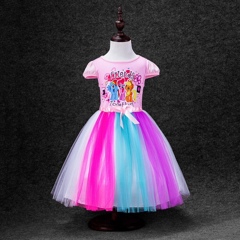 2016 new Girls Princess font b Dress b font for Kids little pony Elsa Anna girls